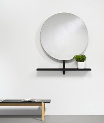 Großer runder Design Spiegel moderner Wandspiegel mit Ablage Schwarz 100 x 115 cm