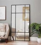 Großer Standspiegel - Ganzkörperspiegel Spiegel Schwarz antik aus Metall H 220* B 110* T 3cm Wandspiegel