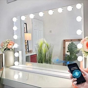 Großer XXL Hollywood-Spiegel mit Licht Beleuchtung Make-up-Spiegel Bluetooth Tisch-Spiegel LED Touchscreen Lautsprecher