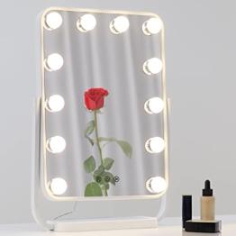 Hollywood Schminkspiegel Tischspiegel mit Beleuchtung Hollywood Spiegel LED-Glühbirnen Farben Licht Drehbar Make-up