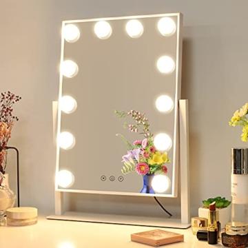 Hollywood Spiegel mit Beleuchtung Dimmbare LED 3 Farben Licht Drehbar Schminkspiegel mit Licht Weiß