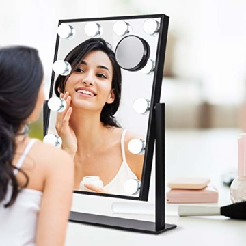 Hollywood Spiegel mit Licht Beleuchteter Tabletop 360°drehbar Kosmetikspiegel dimmbaren LED-Lampen Touch-Steuerung