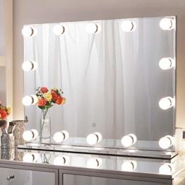 Hollywood Spiegel mit Licht, Schminkspiegel mit Beleuchtung Gross Beleuchtet Kosmetikspiegel für Schminktisch 80x60cm