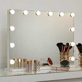 Hollywood Spiegel mit Licht, Touch Schminkspiegel LED Licht Kosmetikspiegel Schlafzimmer Schminktisch Dimmbar 58x46 cm