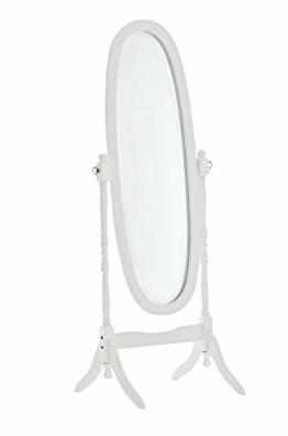 Holz-Standspiegel Ovaler freistehender Spiegel im Landhausstil Ganzkörperspiegel mit Holzgestell 150 x 60 cm weiß