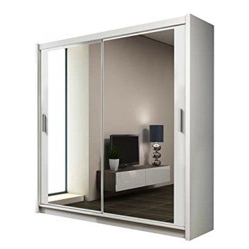 Kleiderschrank mit Spiegel, Moderner Schwebetürenschrank, Schiebetür, Schlafzimmerschrank, Schlafzimmer 160 cm