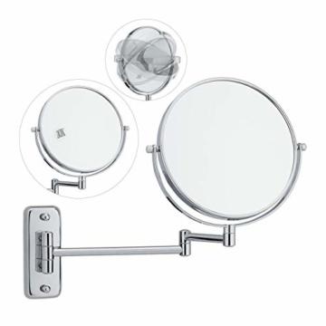 Kosmetikspiegel doppelseitig 10-Fach Vergrößerung schwenkbar Spiegel Silber Wandmontage