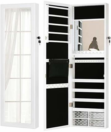 Licht Schmuckschrank Wandhalterung Türspiegel Make-up Abschließbarer Schrank großer Aufbewahrungsschrankt Schubladen Weiß