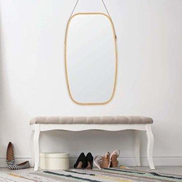 Ovaler Wandspiegel mit Riemen, Natur Rahmen aus Bambus Deko Spiegel Flurspiegel 76,5x43,5cm