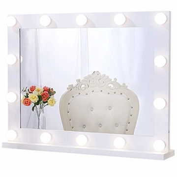 Professioneller Schminkspiegel mit Licht, Hollywood Spiegel mit Beleuchtung Großer Beleuchteter LED Kosmetikspiegel für Schminktisch