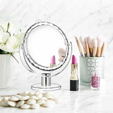 Runder Kosmetikspiegel mit Vergrößerung Schminkspiegel stehend, Make Up Spiegel 23 x 19 x 10 cm