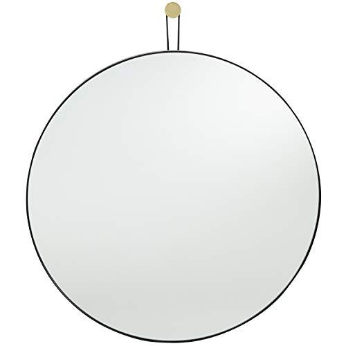 Runder Spiegel mit Schwarzen/Goldenen Metallrahmen 60 x 60 cm – Dekorativer Wandspiegel Modernes Design -