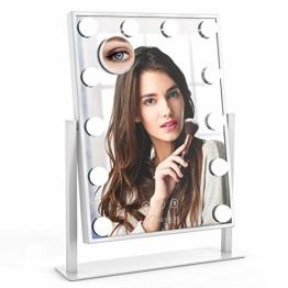 Schminkspiegel Kosmetikspiegel Hollywood Spiegel Abnehmbarer Vergrößerungsspiegel Smart Touch 360 ° Drehung