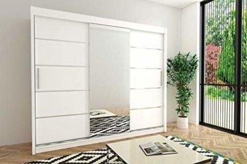 Schwebetürenschrank mit Spiegel Kleiderschrank Schlafzimmer- Wohnzimmerschrank Schiebetüren Modern Design Weiß