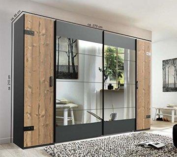 Spiegel Kleiderschrank Spiegelschrank in Silber-Tanne 270 cm Hochwertiger Industriedesign Kombi Schwebetürenschrank