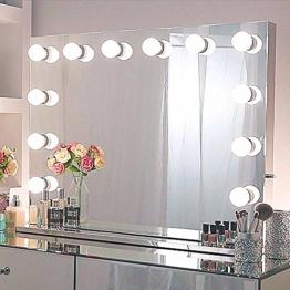 Tabletop Rahmenloser Hollywood Spiegel mit Beleuchtung Großer Schminkspiegel mit Licht Schminktisch LED beleuchteter Großer Kosmetikspiegel Glühbirnen für Schlafzimmer 80cm x 60cm