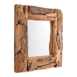 WURZELHOLZ Wandspiegel Holzrahmen Teakholz Spiegel 50x50 cm rustikaler Wandspiegel für Flur Eingang Wohnzimmer