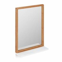 Wandspiegel mit Ablage Badspiegel mit Rahmen Bambus Spiegel zum Aufhängen Flurspiegel Natur 54,5 x 38 x 12 cm