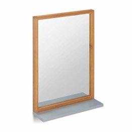 Wandspiegel mit Ablage Spiegel zum Aufhängen Badspiegel Holzrahmen Flurspiegel aus Bambus Natur/grau 54,5 x 38 x 12 cm