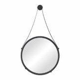 Wandspiegel rund modern Spiegel mit Aufhänger  Metallspiegel für Flur, Bad, Wohnzimmer schwarz Ø 40 cm