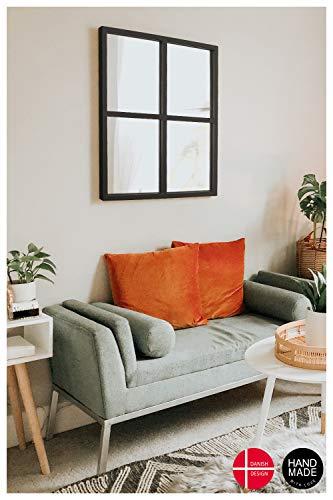 Wandspiegel Spiegel Schwarz aus Metall Rechteckiger Badspiegel 63 * 55 Dänemark Bad Dekoration fürs Wohn-/Schlafzimmer