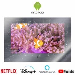 """Wasserdichter Bad-TV Spiegel, sicherer Badspiegel mit Android TV Spiegelfernseher Tuner & Smart TV-Box 22"""""""
