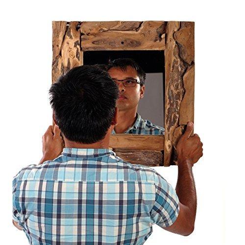 WURZELHOLZ Wandspiegel Holzrahmen Teakholz Spiegel 50×50 cm rustikaler Wandspiegel für Flur Eingang Wohnzimmer -