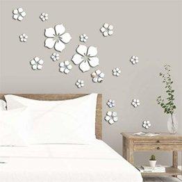 3D Blumen Wandtattoo Wandsticker Spiegel Aufkleber 18 Stück Wandaufkleber Wanddeko für Wohnzimmer Kinderzimmer
