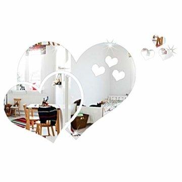 3D Herz Spiegel Wandspiegel Wandaufkleber Sticker Deko Acryl Kunst Aufkleber für DIY Home Decoration