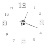 3D Wanduhr Dekoration Uhr 3D Spiegel Wandtattoo Zeit Uhr Zimmerdeko Silber weiß