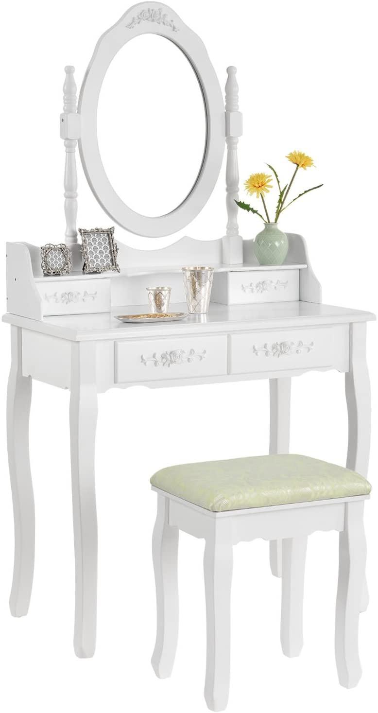 Schminktisch mit Hocker Sitz Spiegel und Schubladen