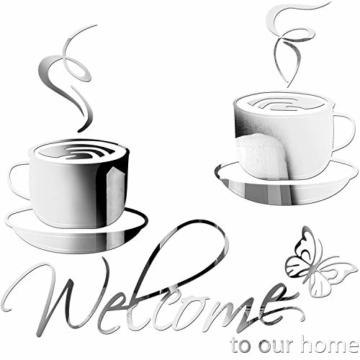 Acryl Spiegel Einstellung Wandtattoo Welcome to Our Home Wand Aufkleber 2 Cafe Tee Wand Kaffeetasse