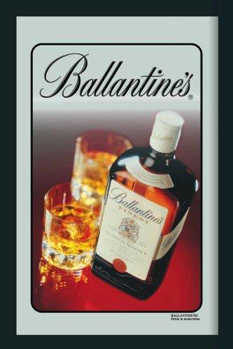 Ballantines Whiskey Flasche Barspiegel mit Rahmen Bar Spiegel Wandspiegel Dekoration Werbespiegel 20x30 cm
