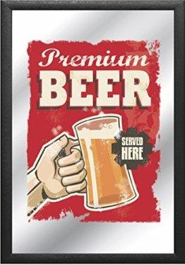 Barspiegel mit Bier Bar Deko Spiegel 30x20 cm - Premium Beer - Served here - Bar Dekoration Wandspiegel