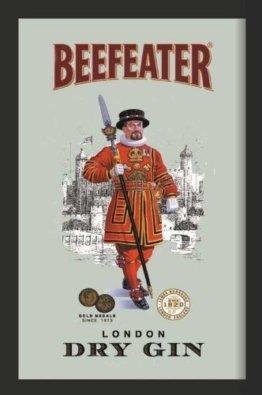 Beefeater London Dry Gin Werbespiegel Barspiegel Werbung Dekoration Bar Spiegel Wandspiegel Sammlerstück 20x30cm
