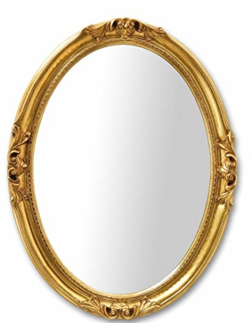Blattgold Spiegel Wandspiegel Oval Klassischer Wandspiegel mit Goldrahmen Barock 63x83 cm