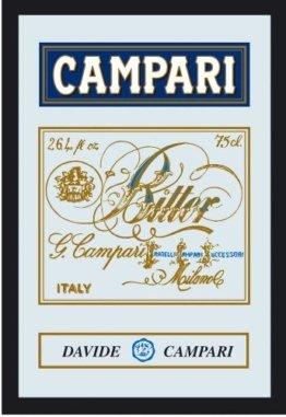 Campari Wandspiegel Werbespiegel Motivspiegel Barspiegel mit Rahmen, Schild Likör Cocktail - Bardekoration 20x30 cm