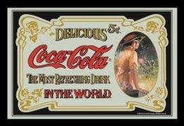 Coca Cola Retro Barspiegel mit Motiv Bedruckter Spiegel Rahmen Bar Spiegel Dekoration Wandbild 40x30 cm