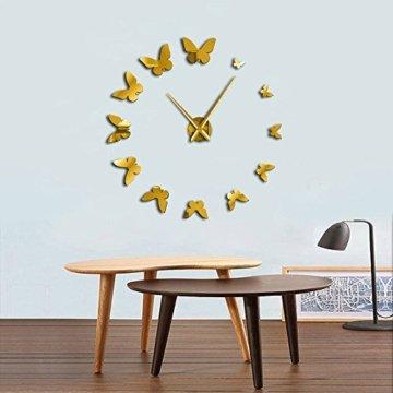Dekorativer GoldSpiegel Wandspiegel Natur Fliegende Schmetterlinge Modernes Design Luxus DIY Große Wanduhr Uhr