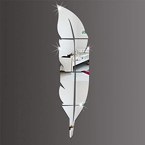 Dekorativer Luxus-3D Feder Wandspiegel Spiegel WandAufkleber Acryl Wand Aufkleber Spiegel Wandaufkleber DIY Dekoration