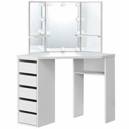 Eck Schminktisch mit LED-Beleuchtung Spiegel Schubladen und Fächern weiß modern Holz Frisiertisch Kosmetiktisch Kommode