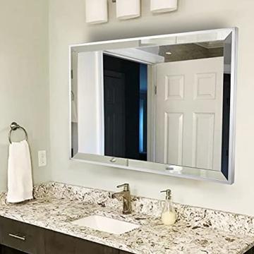 Großer Wandspiegel für Badezimmer 90 x 70cm Rechteckiger Spiegel Bad Große abgeschrägte Kante Kosmetikspiegel für Make-up Design