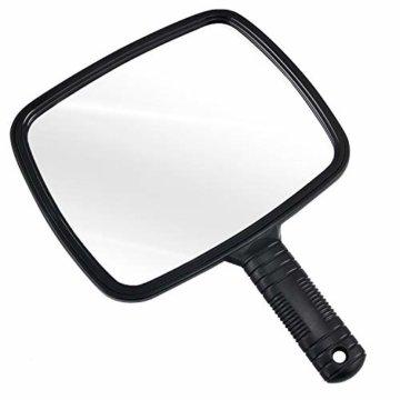 Hand Spiegel Salon Handspiegel für Friseur und Beauty - für professionelle Friseure und Friseure Schwarz Weitwinkel und Herrenfriseursalon-Handspiegel mit Griff