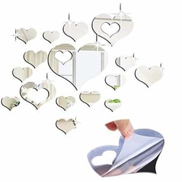 Herzen-Wandspiegel Herzen-Spiegel Dekospiegel Wandtattoos Bilder Spiegelfliesen Selbstklebend Herzen-Wandspiegel Dekoration Haus, Esszimmer