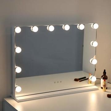 Hollywood Beleuchteter Make-up Spiegel Schminkspiegel mit LED Lichtern Touch Steuerung großer Kosmetikspiegel Glühbirnen Tischplatte Kosmetikspiegel Weiß