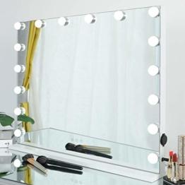 Hollywood Spiegel mit Glühbirnen Luxus großer Schminkspiegel mit Beleuchtung Theaterspiegel Tischspiegel 70X55 cm Licht Kosmetikspiegel