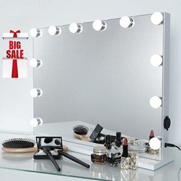 Hollywood Spiegel Schminkspiegel mit Beleuchtung Glühbirnen Dimmbar Wand Tischspiegel professioneller Theater Spiegel