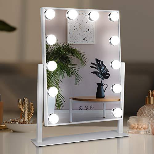 Hollywood Spiegel Schminkspiegel mit dimmbaren LED-Licht Professionelle Make-up Spiegel, 360° drehbar Beleuchteter Tischspiegel