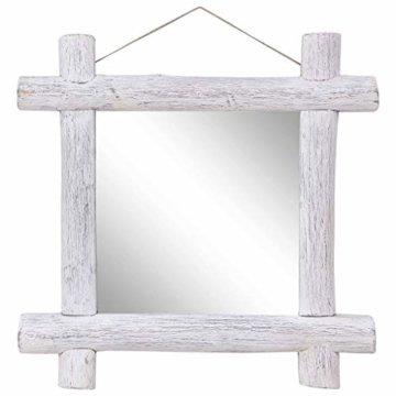 Holzspiegel Flurspiegel Barspiegel Spiegel Dekospiegel Weiß 70x70 cm Recyceltes Massivholz