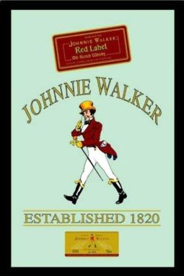 Johnnie Walker RED LABEL Whiskey Barspiegel Bar Bedruckter Spiegel mit Rahmen Bar Dekoration 20x30 cm